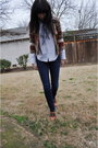 White-vintage-ralph-lauren-blouse-brown-vintage-sweater-blue-thrifted-scarf-