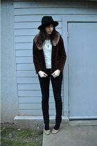 black vintage hat - brown vintage accessories - white vintage blouse - brown vin
