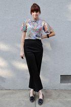 black 70s vintage pants - loafers vintage shoes - blue vintage blouse