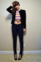 black 1960s velvet vintage blazer - navy BDG jeans - vintage top
