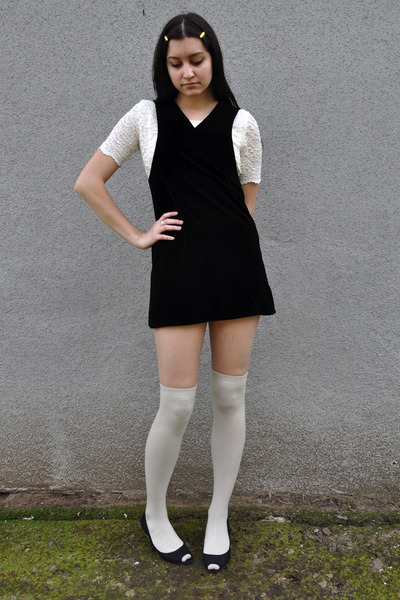 2d5958f17 black vintage dress - white vintage blouse - white socks - black Arturo  Chiang s