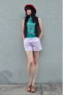 Red-hat-brown-vintage-vest-green-vintage-shirt-pink-vintage-shorts-brown