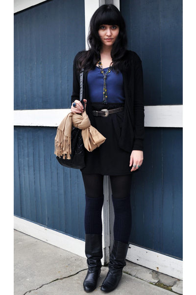 black slouchy BDG cardigan - black slouchy thrifted boots