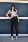 Pink-vintage-blouse-black-american-apparel-pants-white-vintage-nine-west-sho