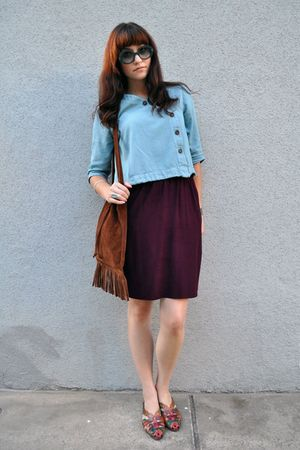 blue thrifted blouse - purple thrifted skirt - brown vintage purse - red vintage