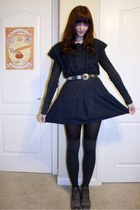 charcoal gray Forever 21 boots - black vintage dress - gray Mossimo shirt - dark