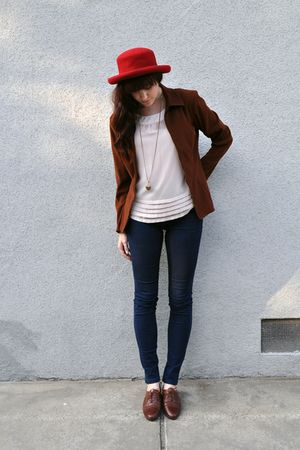 pink silk H&M blouse - brown oxford vintage shoes - BDG jeans - red madeline hat