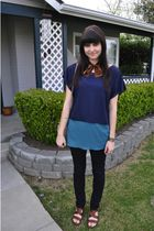 brown born shoes - BDG jeans - blue Kimchi&Blue blouse - brown vintage accessori