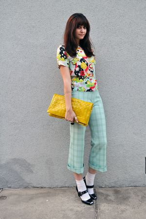 yellow clutch purse - black Via Spiga shoes - white socks