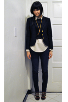 beige vintage blouse - brown buckle peep toe shoes - blue skinny BDG jeans