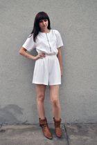white vintage dress - brown vintage boots - silver bracelet - silver H&M accesso