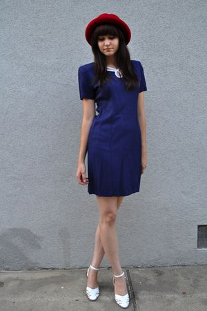 blue vintage dress - white vintage shoes - red vintage hat