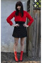 red vintage blouse - black thrifted belt - black thrifted skirt - red stockings