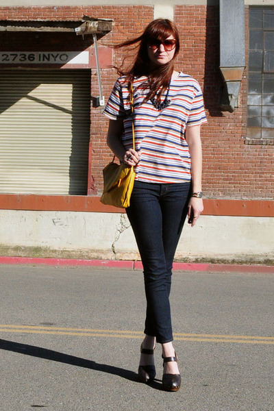 navy cropped J Brand jeans - yellow vintage purse - red thrifted blouse - dark b