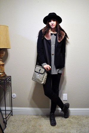 gray Forever 21 boots - black vintage blazer - thrifted Gucci purse - black f21