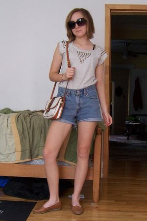 beige Forever 21 shirt - Levis shorts - Dooney & Bourke purse - shoes