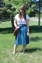teal thrifted skirt - heather gray TOMS shoes - brown gift purse