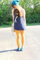 teal TOMS shoes - navy anchor pattern dress - teal neff hat - mustard tights