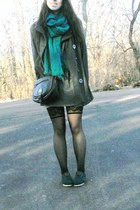 black stockings - teal cordones TOMS shoes - gray thrifted dress - gray coat