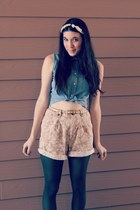 dark khaki floral thrifted shorts - forest green Target tights