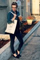 black skinny Forever 21 jeans - navy jean Gap jacket - cream tote Forever 21 bag