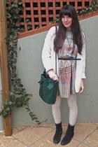 aquamarine smocked vintage dress - cream cotton H&M leggings
