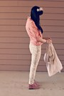 Cream-floral-target-jeans-light-pink-suede-target-boots