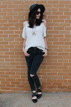 ivory cut out Forever 21 top - black cut out Urban Outfitters boots