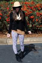 black fringed boots - camel felt Urban Outfitters hat - black boxy H&M sweater