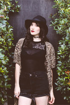 black cut out Urban Outfitters boots - black cheetah thrifted vintage dress