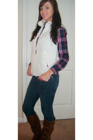 plaid Haute Juncture shirt - puffer Maurices vest