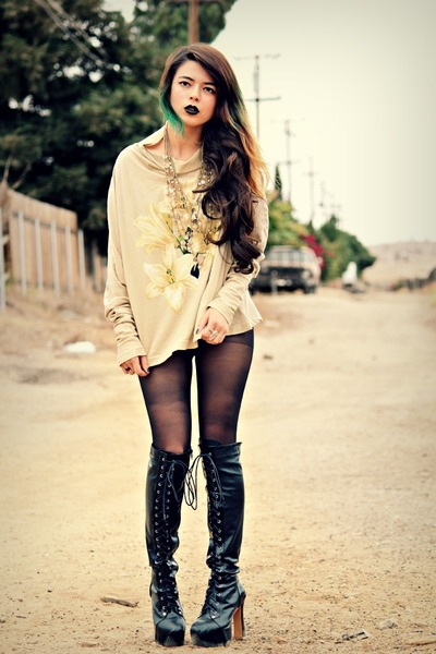 black lace up boots romwe boots - black PacSun tights - cream Forever21 necklace
