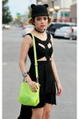 Chartreuse-neon-choies-bag-black-cut-out-asos-dress-black-cat-romwe-hat