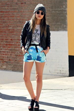 zippers PacSun jacket - skeleton Wildfox shirt - galaxy Sheinside shorts