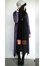 Black-forever-21-dress-deep-purple-knit-forever-21-cardigan
