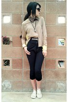 beige color block laugh cry repeat blouse - tan detachable Akira accessories