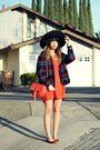 Dark-green-thrift-coat-carrot-orange-sugarlips-dress-black-felt-similar-hat