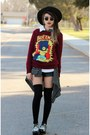 Black-thrift-hat-brick-red-cartoon-sheinside-sweater