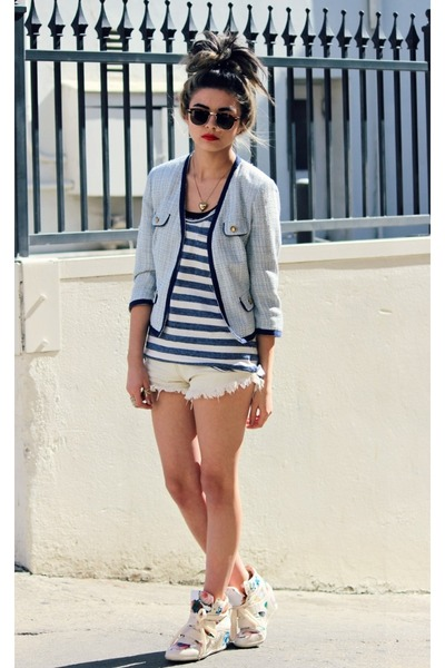 navy stripes Lands End vest - sky blue tweed Forever21 coat