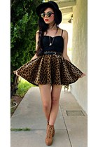 mustard leopard romwe skirt - black lace Forever 21 intimate