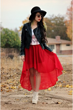ruby red romwe skirt - white Udobuy boots - black PacSun jacket