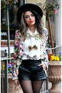 Violet-floral-persunmall-blazer-black-thrift-hat-black-leather-romwe-shorts