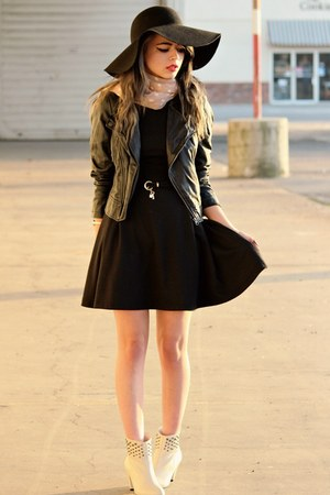 black foreign exchange dress - black needsupply hat - dark gray PacSun jacket