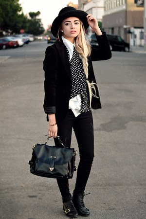 black Walmart blazer - black polka dot Popbasic blouse - cream