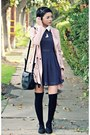 Navy-polka-dot-romwe-dress-peach-suede-romwe-coat