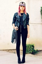 black pleather PacSun jacket - black studs romwe bag - black cotton UNIF vest