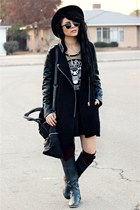 black romwe dress - black romwe coat - black romwe bag
