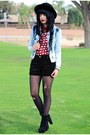 Black-felt-forever-21-hat-sky-blue-denim-forever-21-jacket