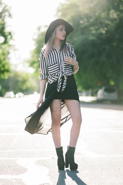 black stripes romwe blouse - black sheer Sheinside skirt