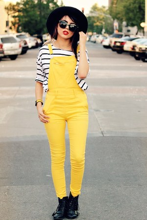 yellow bright romwe romper - black buckle romwe boots